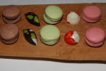 Left to Right: Chocolate Dipped Rosemary and Olive Oil Bon Bon, Chocolate Macaron, Dark Chocolate and Pistachio Bon Bon Pistachio Macaron, Pink Raspberry and White Chocolate Bon Bon, Raspberry Macaron with Pink Peppercorns Honey and Thyme Dark Chocolate Ganache, Pastry Chef Mark Redman
