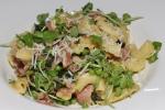 Lonza cresti di gallo, sweet peas + tendrils, dandelion, pecorino
