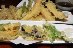 77. Assorted and Vegetable Tempura - shrimp vegetables and fish - fried to a light crisp in vegetable oil, changed daily. A full dish. $15.00 and $16.00