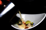 """SOUP! THERE IT IS"" Snow crab salad, pickled grapes and grapes shattered in liquid nitro, segments of hot peppers and tomatillo, chili flake powder, chayote, avocado foam and chilled almond soup"