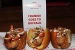 Frankie Goes to Buffalo - panko fried wiener, chicken bacon, carrots, celery, blue cheese dressing, buffalo wing sauce $7.25