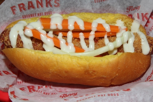 Frankie Goes to Buffalo - panko fried wiener, chicken bacon, carrots, celery, blue cheese dressing $7.25