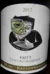 Marc Kreydenweiss Kritt Gewürztraminer 2012 Les Charmes biologique semi-dry 13% Alsace $75.00