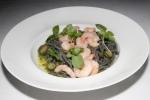 "Squid Ink Chittarine ""Aglio E Ollo"" - B.C. prawns, zucchini, parsley, garlic, chilies $28"