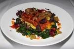 Maple & Miso-Glazed B.C. Sockeye Salmon - sweet corn, spinach, bonito flakes, pickled shoshitos $33