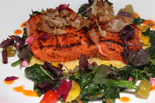 Maple & Miso-Glazed B.C. Sockeye Salmon - sweet corn, spinach, bonito flakes, pickled shoshitos $33