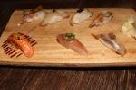 Aji: Horse mackerel, jalapeño; Isaki: striped pigfish; hirame: flounder; kaimin tai - acupunctured red snapper; yellow sea bream, Japanese shishito pepper
