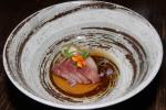 Hamachi filet, o'toro belly, dwarf peach in truffle oil, edible flowers