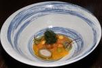 B.C. Uni (sea urchin), truffled dwarf peach, sorrel leaf, seaweed, pea soup