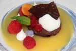 Mango soup/jelly, chocolate brittle, raspberries, ginger mousse, chocolate biscuit on top