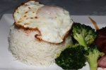 Sliced B.B.Q. Pork with Pan Fried Egg and Rice $9.00