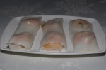 34 Steamed Rice Noodle Rolls with Shrimp & Parsley L $4.90