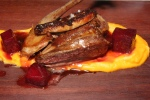 Pan roasted squab, sweet potato purée, balsamic glazed beets, seared foie gras