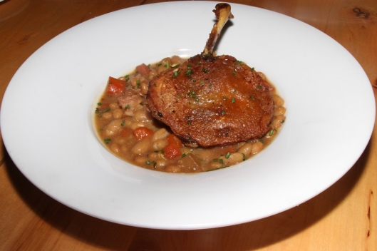 Duck Confit - Crisp Duck Leg, White Beans, Lardons & Roasted Root Vegetables