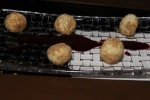foie balls - foie gras, freeze dried fig, elderberry sauce