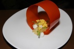 le hoop - lime compressed apple, masala pearls, cilantro, coconut gel and a lemongrass crumble inside a crispy carrot hoop
