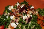 Winter Salad - kale, roasted butternut squash, beets, pecans with goat cheese and lemon-garlic mojo