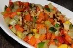 Vegetarian arepa and roasted vegetables
