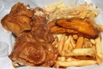 Fried Chicken Meal with French Fries, Vegetables and Fresh Fried Plantains $8.95 (extra mild)
