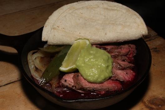 Carne Asada skillet - Flank steak, ancient raw mole, drunken salsa, tortillas 'nuff said