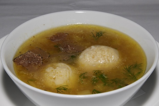 MATZO BALL SOUP chicken broth, parmigiano, shaved Burgundy black truffle $13.00
