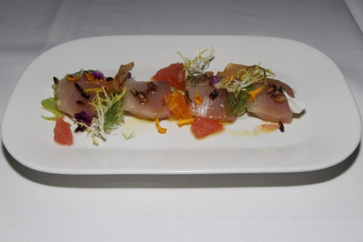 Hamachi Crudo - shaved fennel, citrus, puffed rice, olive oil