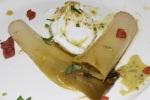 Poireau mijotés - slow braised leek poached egg bacon mustard-white wine vinaigrette