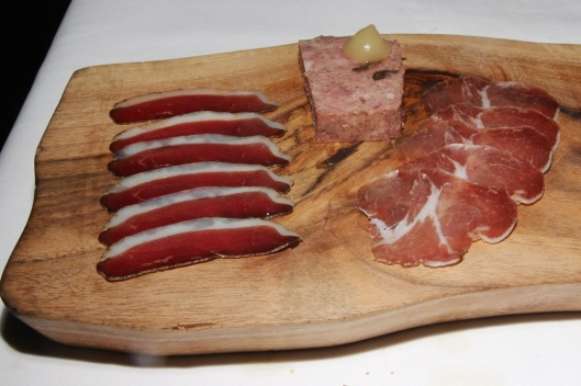 Charcuterie plate - duck & foie gras terrine, salumi, coppa, Calabrese olives