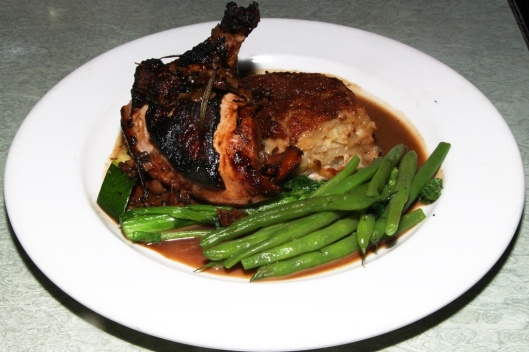 Rosemary Roast Chicken - with mushroom garlic jus and scalloped potatoes $20