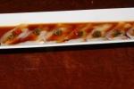 Usuzukuri - delicate thinly cut fresh Hirame (Fluke) sashimi, spicy seasoned Ponzu sauce