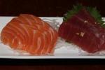 Sashimi - salmon, maguro (tuna) with edible gold flakes, shrimp, hamachi