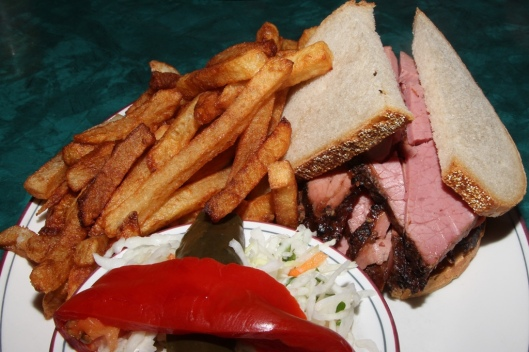 The Centre Street Special - mild smoked meat (lean) served on double rye, fries, cole slaw, and a dill $15.00