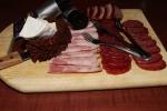Compressed head cheese, Andouille sausage, venison salami, sausage di peppe, sur les quais mustards