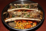Roasted Bone Marrow on stewed chickpeas and duck fat carrots