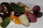 Salad of: roasted beets, artichoke, citrus, crushed peanut, Cerignola olive, yogurt