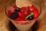 Panna cotta, raspberry coulis, almond tuile 7 ¾