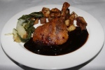 Confit de Canard sauce Cerises - Confit duck leg, sweet/sour cherry gastrique, pommes sarladaises $21,00