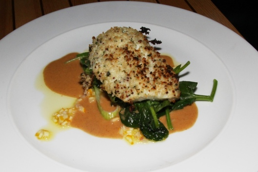 Cod - mustard tarragon crust/leeks/wilted greens/meyer lemon relish brown butter sauce $29.00