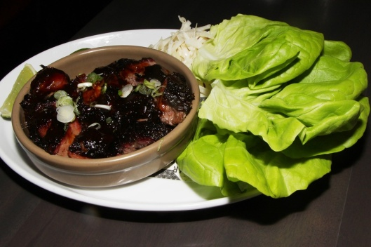 Beef brisket burnt ends - lettuce wrap, pickled cucumber, coleslaw, chili $15.00
