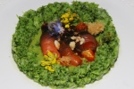 B.C. Gooseneck barnacles, broccoli, forage sauce, almonds, edible flowers