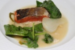 Wild sockeye salmon from Copper River, Alaska, fresh horseradish, spring onions, spinach