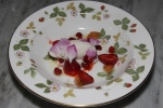 Wild and cultivated Ontario strawberries, ice milk from wild buffalo yoghurt, wild roses, fresh strawberry juice