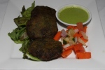 Hara bhara Kabab - Deep fried Spinach & cottage cheese patties with nuts served with mint sauce