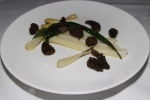 [For dessert I ordered] Poached Janssen Farm's White Asparagus - wild leeks, morels, baby onions (0899) (Night menu version - Poached Janssen Farm's White Asparagus - wild leeks, Hollandaise sauce $17.00)