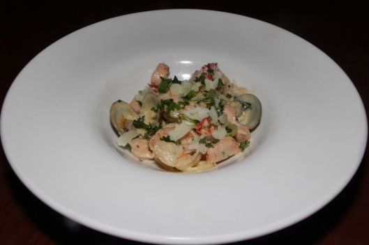 Seafood linguine - lobster, clams, salmon, shrimp, lobster bisque sauce