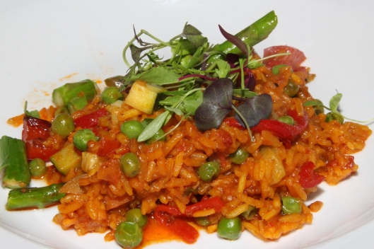 Paella a la Jardinera (V) - garden seasonal grilled vegetables, with Spanish piquillos peppers, sherry scented tomato sofrito rice