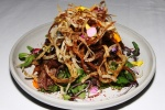 Crisp Duck Salad  - sumac-dusted green papaya slaw, kaffir lime, coriander, taro root