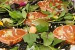 """Charred """"Rare"""" B.C. Salmon Tataki - wakame salad, ginger, coriander, togarashi, citrus soya"""