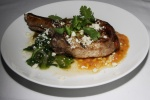 Grilled Ontario Pork Rib Chop - sweet corn succotash, charred tomatillo & poblano