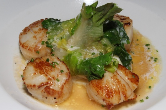Scallops - seared jumbo scallops, parsnip garlic mash, wilted greens $26